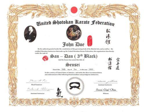Shotokan Karate Custom 11 X 14 certificate