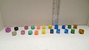 LOT-OF-21-DICE-Variety-of-sizes-and-colors-Vintage