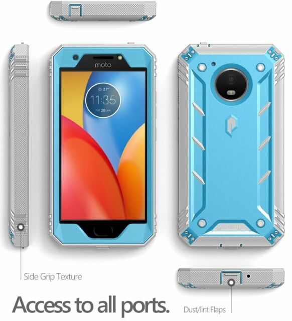 new style 1cdd1 f6892 Poetic for Motorola Moto E4 Plus Rugged Case Revolution Shockproof Cover  Blue
