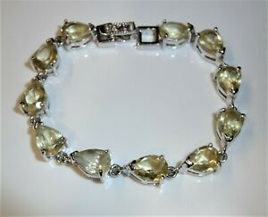 Bracelet 925 Silver Approx 22 Carat Lemon Citrine 17cm Length