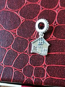 'home Sweet Home' Dangle Charm ~ 925 Stirling Silver ~ Fits A European Bracelet