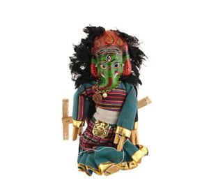 Marionnette Nepalaise 2 Faces Ganesh Et Mahakala Artisanat Fait Main G4-5009