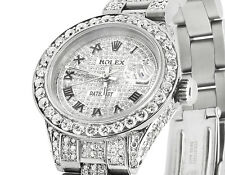 Ladies Rolex Datejust Oyster 27MM Full Iced Out Roman Dial Diamond Watch 9.75 Ct