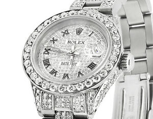 Details about Ladies Rolex Datejust Oyster 26MM Iced Pave Roman Dial  Diamond Watch 9.75 Ct