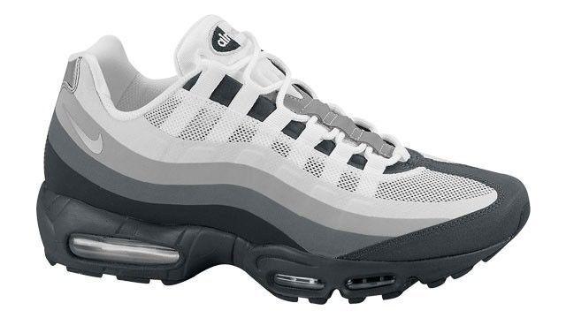 Mens Nike Air Max 95 No Sew Premium Sneakers New, Grey White 511306-011
