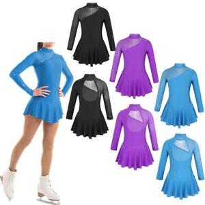 Child-Girls-Cutouts-Back-Skating-Dress-Kids-Ballet-Dance-Leotards-Gymnastic-Wear
