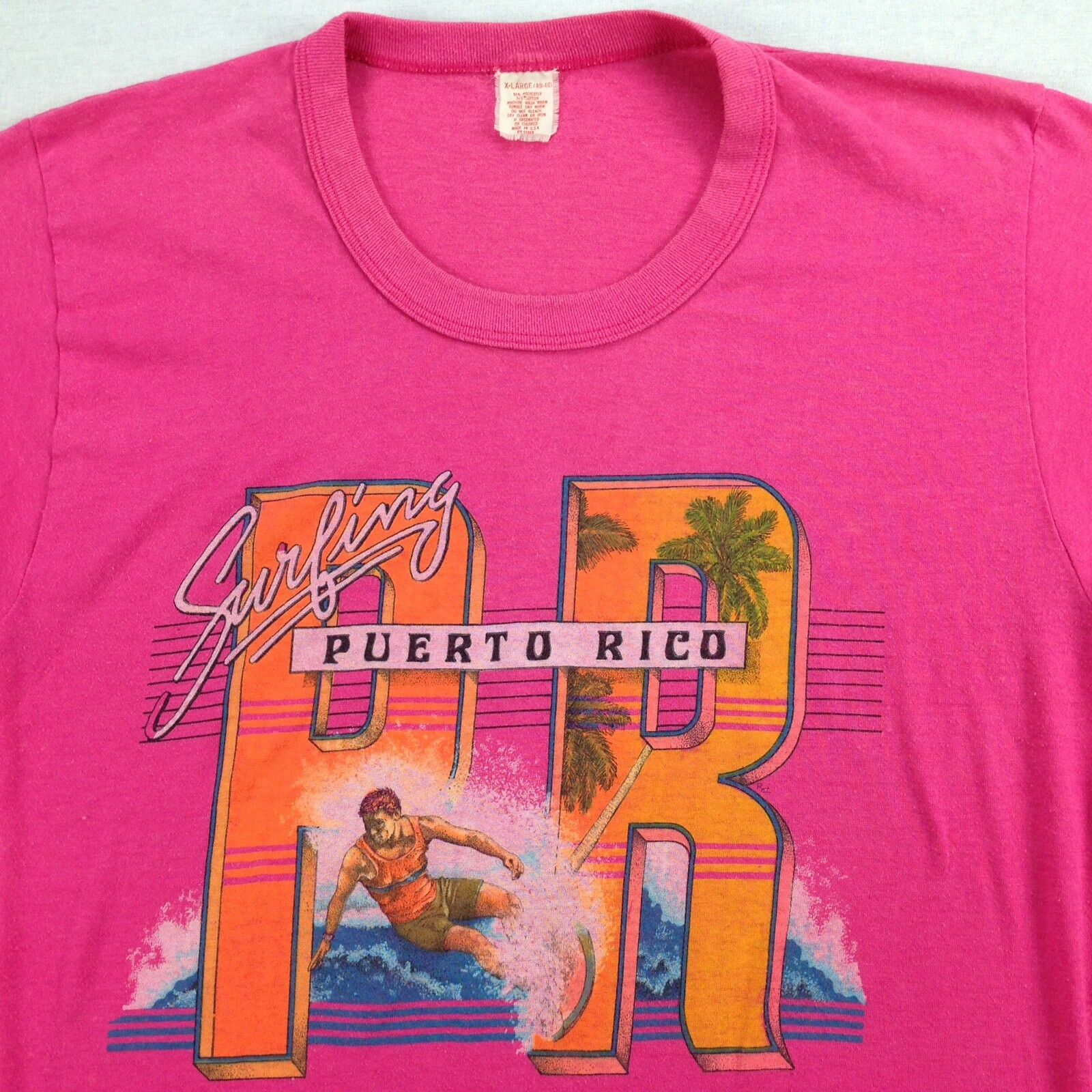 Vtg 70s 80s Distressed Puerto Rico Surfer T-Shirt actual size MEDIUM Paper Thin