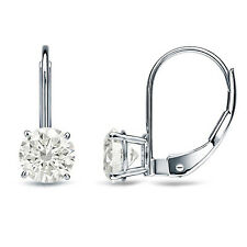 3.0 ct Round Cut Solitaire Stud Earrings in Solid 14k Real White Gold Leverback