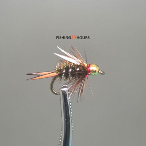 6Pcs Half Dozen Fly Fishing Bead Head Prince Nymph 12# 14# 16# NEW