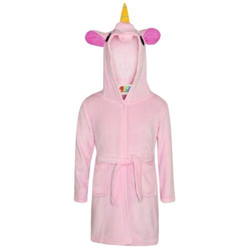 Girls Bathrobe 3D Animal Unicorn Baby Pink Dressing Gown Fleece Night Loungewear
