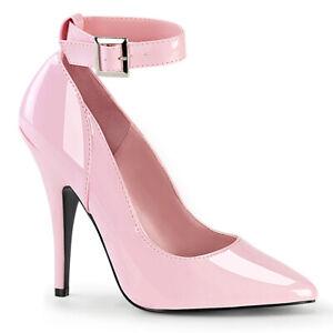 "Pleaser SEDUCE-431 Baby Pink Patent 5"" Heel Ankle Strap Pump"