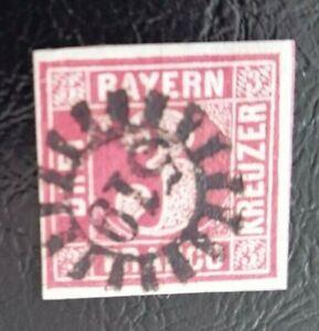 Bayern-3-Kreuzer-rot-Mi-Nr-9-allseits-breitrandig-gMR-034-519-034-Thiersheim-Opf