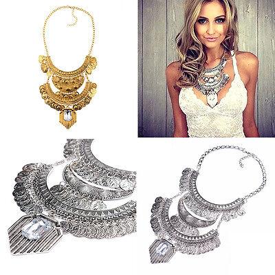 Fashion Women Pendant Chain Crystal Choker Chunky Statement Bib Necklace Jewelry