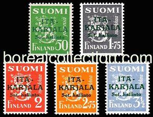 FINLAND-MNH-1941-East-Karelia-Green-Overprint-Occupation-Russia-WWII-Scott-N8-12