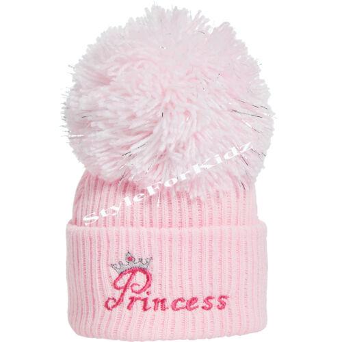 Bébé Garçons Filles Pompon Tricoté Bleu Rose Chapeau Nouveau-né 3-9 mois Pompon Caps