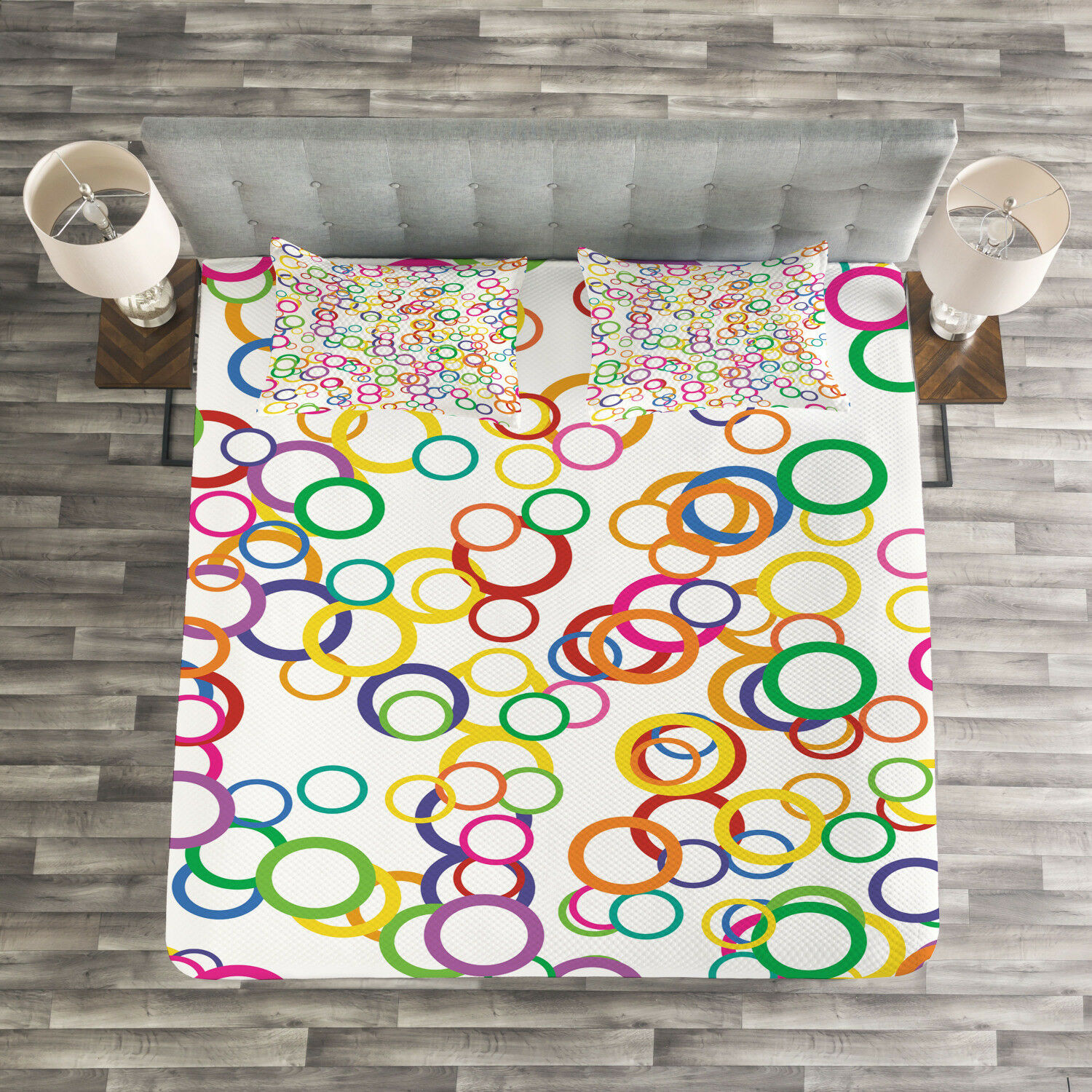 Summer Quilted Bedspread & Pillow Shams Set, ColGoldt Geometric Circle Print