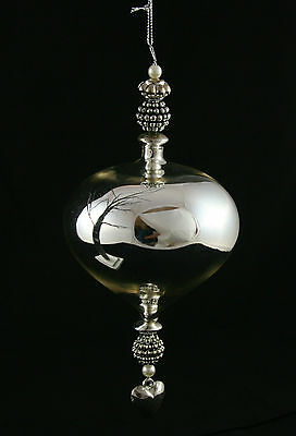 Large Silver Onion Glass Baubal Victorian Vintage ChristmasTree Decoration