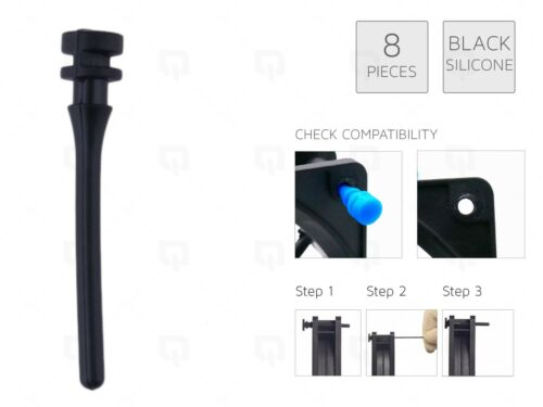 8 x BLACK REAL Silicone Mounting Screws//Rubber//Case//Fan Anti-Vibration Damp Mod