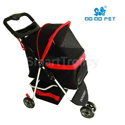 3 Wheels Pet Stroller Cat / Dog Pram Folding Travel Carrier Carriage