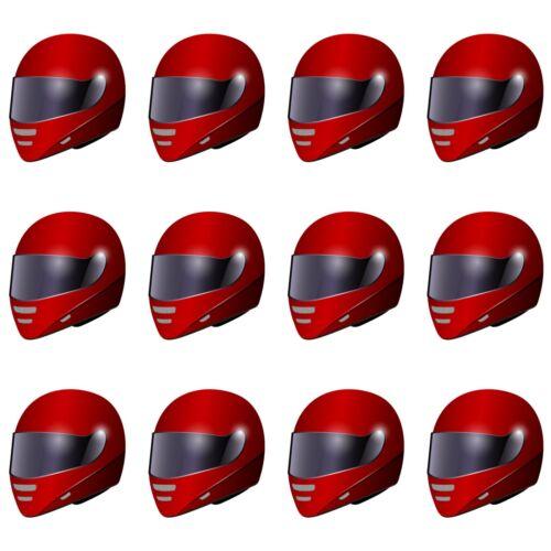 Red Motorbike Motorcycle Helmet Precut Edible Cupcake Toppers Cake Decorations