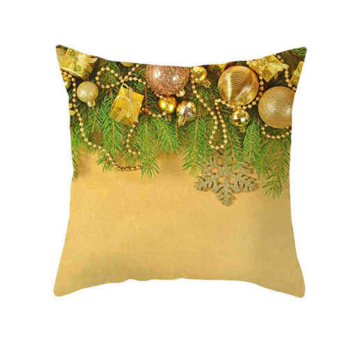 Home Decor Christmas Pillows Cushion Golden Cushions Cover Polyester NEW Cases