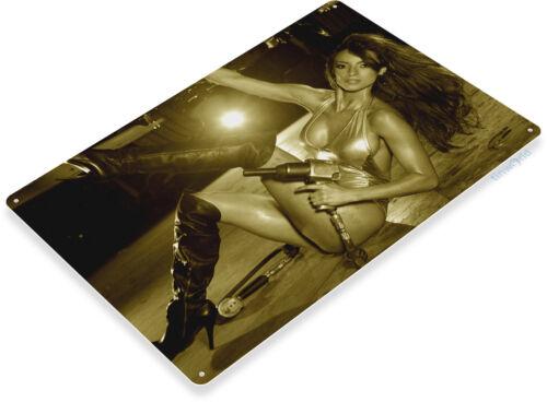 TIN SIGN Work Boots Auto Mechanic Pin-up Girl Metal Hot Garage Shop A936
