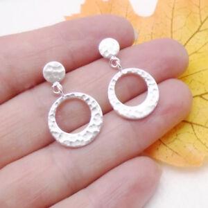Kreis-Ring-gehaemmert-Design-Ohrringe-Ohrstecker-Stecker-925-Sterling-Silber-neu