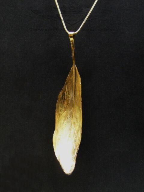 Echte Feder in 24 Karat veredelt, Unikat, 925er Silberkette mit Goldfeder, gold