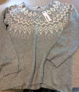 Sonoma Pullover Xl Hvid Sweater Grå Og Tag Heather Størrelse 400773293393 Med Snefnug drUnwx8d