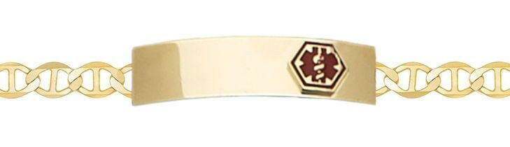 10k or 14k Yellow gold 6in thru 9in Engravable Medical Alert ID Bracelet