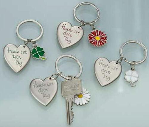 Gilde Metall Anhänger Schlüsselanhänger Herz mit Blume  Heut ist dein Tag  50945