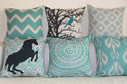 Vintage Aqua Set Home Decor Linen CUSHION COVER PILLOW CASE 18""