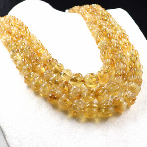 Antique Natural Citrine Beads Carved