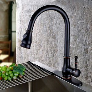 ORB-Kitchen-Pull-Out-Spray-Swivel-Spout-Basin-Sink-Deck-Mount-Mixer-Faucet-Taps