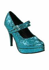 HA104BUG7 Morris Costumes Shoe Alice Blue Glitter Size 7