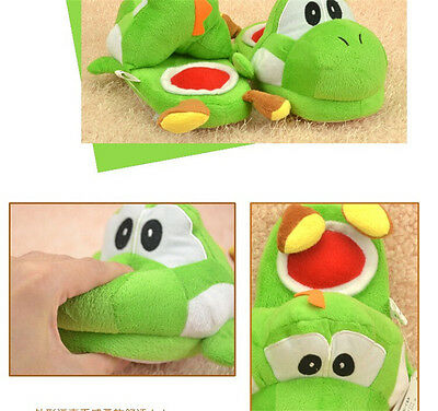 Nintendo Super Mario Brothers Yoshi Adult Plush Slipper One Pair green