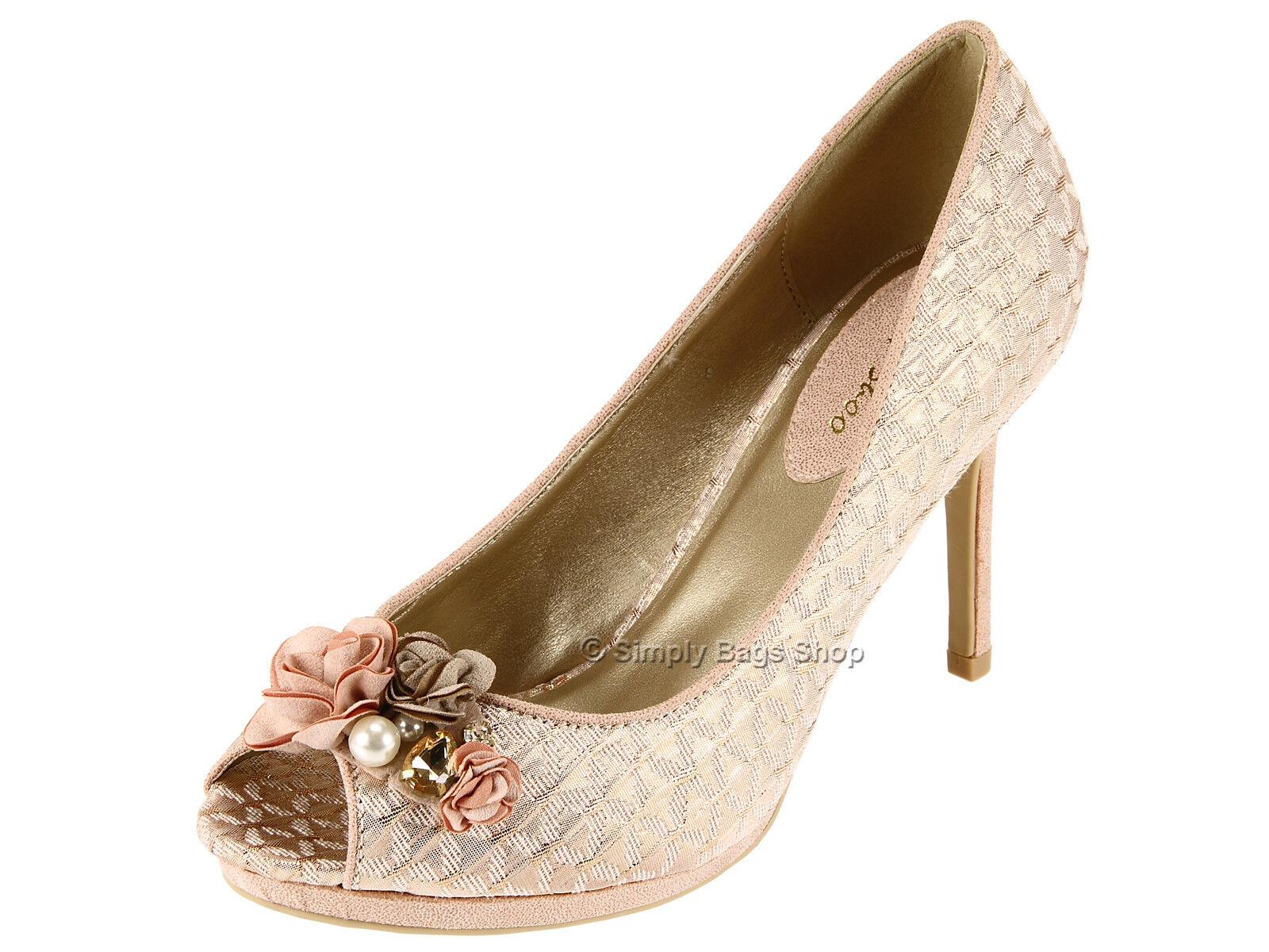 Ruby Shoo Donna Vegan cordiale Peeptoe Tacco Alto   Formale Matrimonio Oro Rosa