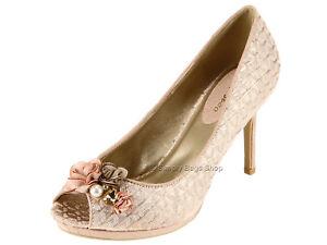 8b81a8fdf Details about Ruby Shoo Ladies Vegan Friendly Peeptoe High Heel Formal Wedding  Shoes Rose Gold