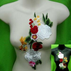 Rose-Flower-Motif-Collar-Sew-on-Patch-Cute-Applique-Badge-Embroidered-Bust-Dress