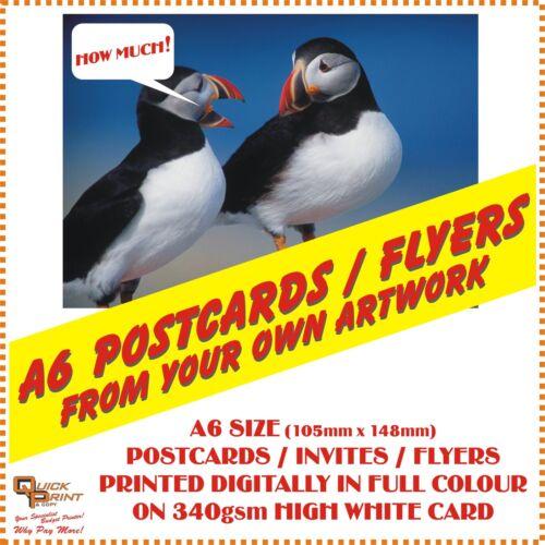 "100 x A6 /""FULL COLOUR/"" POSTCARDS DIGITAL PRINT ON 340gsm CARD FLYERS"