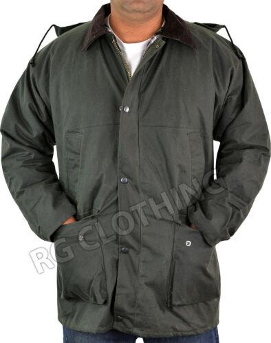 Mens Padded Hooded Wax Jacket Hunting Fishing Shooting Farming Coat S-5XL