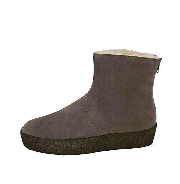Clarks Originals Jez Ice Lammfell grau Wildleder Leder Stiefeletten Winter Schuhe