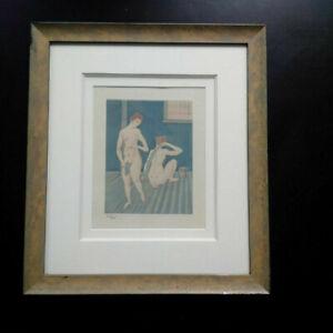 Aquatinte-Foujita-numerotee-gravure-1926-femmes-nues-au-bain-curiosa-eau-forte