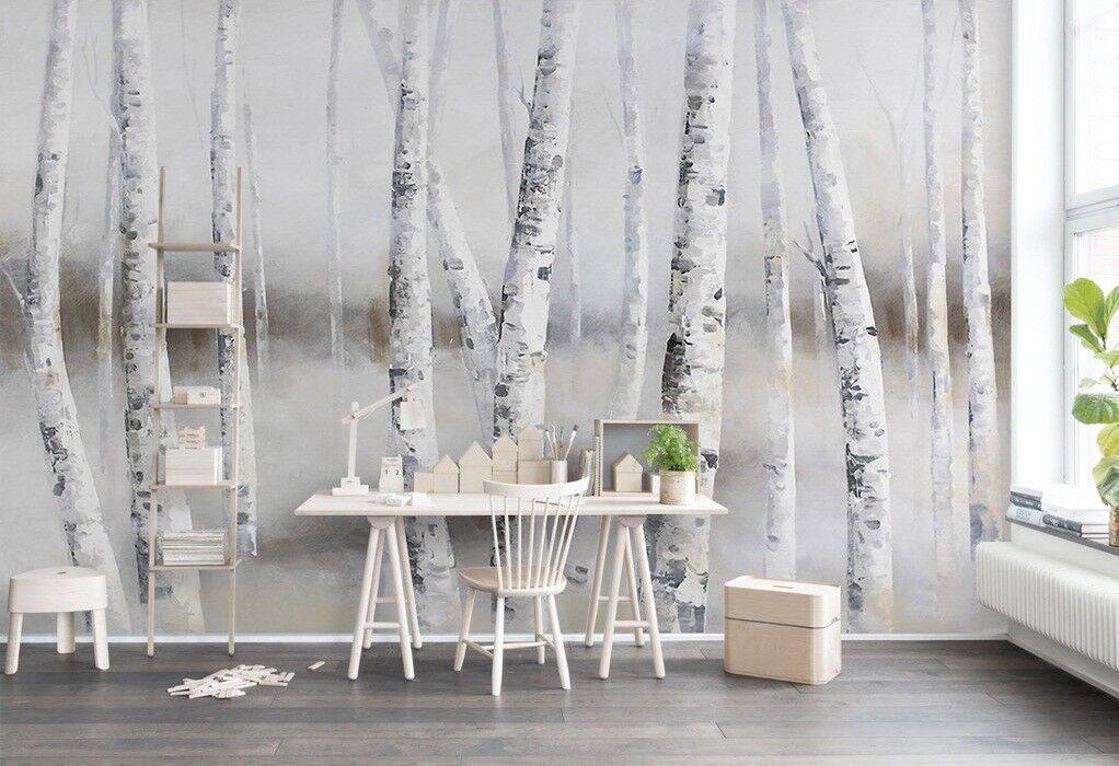 3D Weiß Birke Baum 5 Mauer Papier Exklusiv MXY Fototapete Abziehbild Innen Mauer