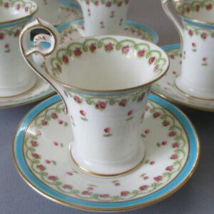 6 Antique Porcelain Cups Saucers Pink ROSES Turquoise Enamel GEO JONES Crescent