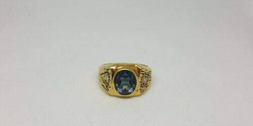 Men's Gold Size 12 18K GE Ring Blue Stone 18K Elec