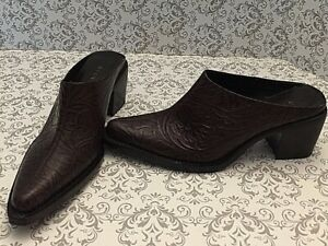 7680d834aeb Details about Gianni Bini Womens Shoes Size 5 1/2 M Slip On Mules Tooled  Leather Pointed Toe