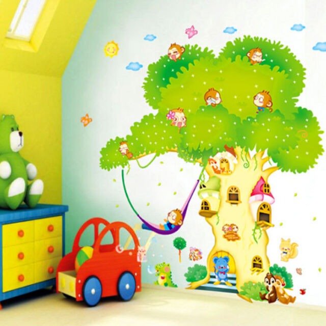 Lovely Hip-hop Monkey Tree Houses Wall Sticker Wallpaper Art For Kids Baby Room