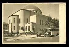 Israel TEL AVIV The Great Synagogue 1935 PPC motor bus