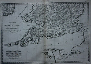 Map Of England Cornwall.Details About Original Antique Map England Cornwall Ireland Wales Rigobert Bonne C 1790